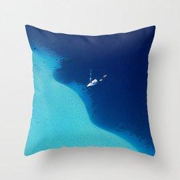Blue Lagoon Abstract Throw Pillow