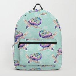 Cute colorful ocean turtles pastel mint watercolor design Backpack