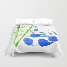 Panda eating bamboo Watercolor Print Duvet Cover