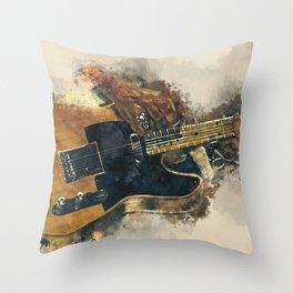 keith richards's electric guitar, guitar wall art, studio decor, music room decor, gift for musician Throw Pillow