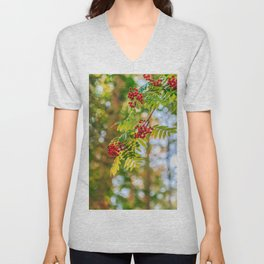 Bunches of rowan berries Unisex V-Neck
