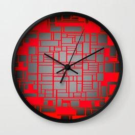 Red & Grey Geometric Design Wall Clock