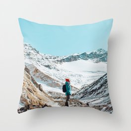 UNRECOGNIZABLE - PERSON - STANDING - ON - SNOWY - PATH - AND - ADMIRING - VIEW - ON - MOUNTAIN - PHOTOGRAPHY Throw Pillow