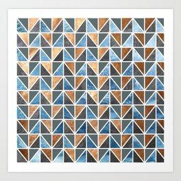 Gold Steel Ice geometric pattern Art Print