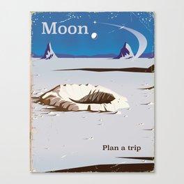 Moon - Vintage Sci-fi travel poster Canvas Print