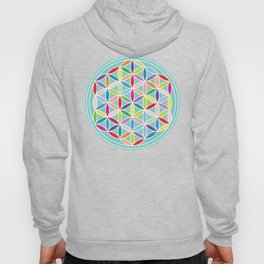 Flower of Life – Multicoloured on Blue Hoody