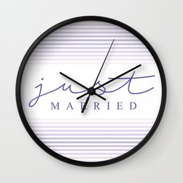 Just married calligraphic typography Wall Clock