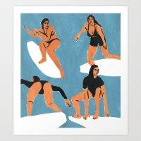 Surf Girls Art Print