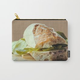 Baguette cut in two, bitten, stuffed with cheese, salad, baked ham Carry-All Pouch