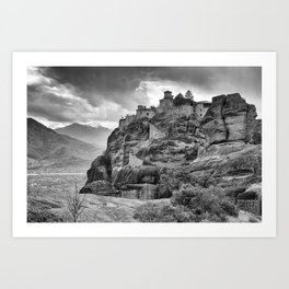 One of the famous Meteora Monasteries, Greece. Black and white image. Art Print