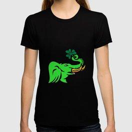 Green Elephant Shamrock Icon T-shirt