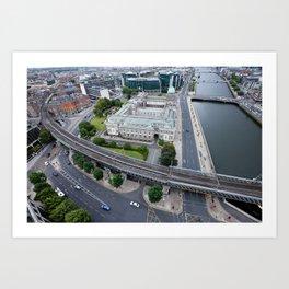 Custom House Dublin aerial view Art Print