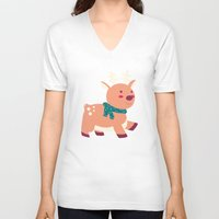 reindeer V-neck T-shirts featuring Reindeer by Claire Lordon