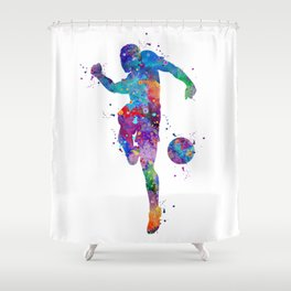 Boy Soccer Player Sports Gift Colorful Blue Purple Watercolor Art Football Player Gift Shower Curtain