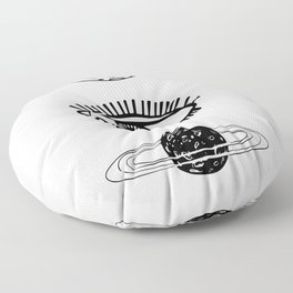 Two hands, between them the moon, eye and planet. Black and white. Floor Pillow