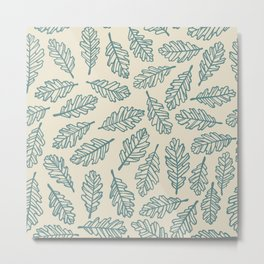 Light Oak Leaf Pattern - Blue Metal Print