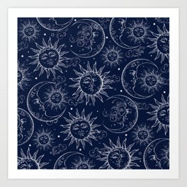 Blue Magic Celestial Sun Moon Stars Art Print