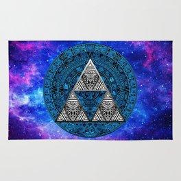Triforce Circle With Blue Nebula Rug