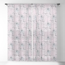 Cute Owl and Cherry Blossoms Pink Gray Sheer Curtain