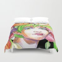 headdress Duvet Covers featuring Tulip Headdress by Thea Maia