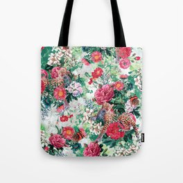 Leopards and Flowers Tote Bag