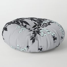 TREE BRANCHES BLACK AND GRAY WITH BLUE BERRIES Floor Pillow