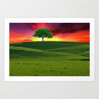 one tree hill Art Prints featuring One Tree Hill by gypsykissphotography