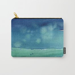 Abstract Blue Horizontal Stripes Watercolor Texture Carry-All Pouch