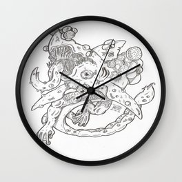 Creepy mutated shark Wall Clock