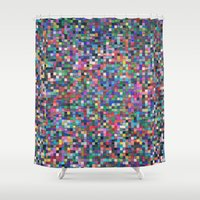 stained glass Shower Curtains featuring stained glass by spinL