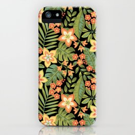 Tropical Flowers and Leaves iPhone Case