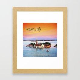Venice, Italy Orange Sunset Framed Art Print