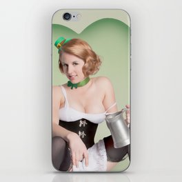 """Luck of the Irish"" - The Playful Pinup - St. Patrick's Day Pinup Girl by Maxwell H. Johnson iPhone Skin"
