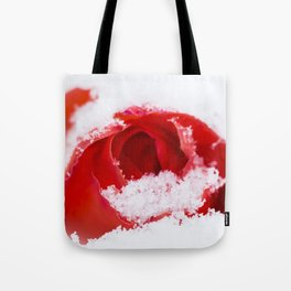 A lone rose resting in the snow after a late London snowstorm in March Tote Bag