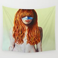 redhead Wall Tapestries featuring Redhead & Blue Mask by Kate Gordon Art