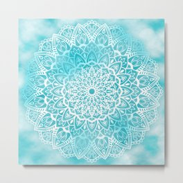 Blue Sky Mandala in Turquoise Blue and White Metal Print