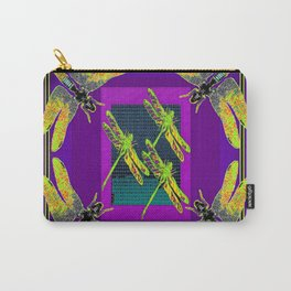 Teal & Purple Golden Dragonfly Season Carry-All Pouch