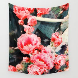 closeup blooming red cactus flower texture background Wall Tapestry