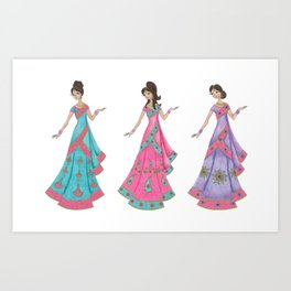 Indian Women Dancing Art Print