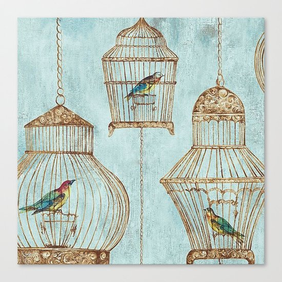 Vintage dream- Exotic colorful birds in cages on aqua background #Society6 Canvas Print