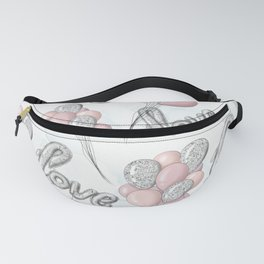 Pink and Gray Love Ballons Fanny Pack