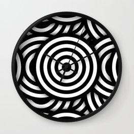 Retro Black White Circles Op Art Wall Clock