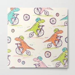 Cute Dino Bikers Doodle Metal Print