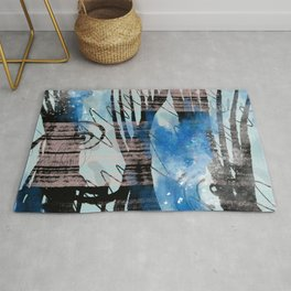 Blue Watercolor Drawing with Black Pattern: Scribble Series 04 Rug