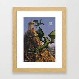 Dragons flying around a temple on mountain top  Framed Art Print