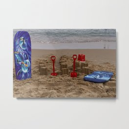 sandcastles, boards, buckets and spades at the beach Metal Print