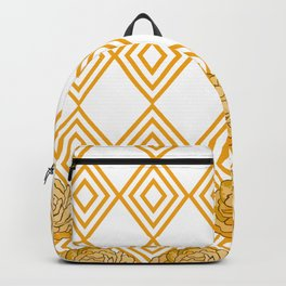 Yellow Peonies & Diamonds Backpack