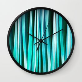 Turquoise and Cyan Ocean Stripy Lines Pattern Wall Clock