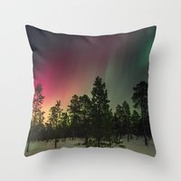 northern lights Throw Pillows featuring Northern Lights  by Limitless Design
