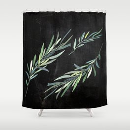 Eucalyptus leaves on chalkboard Shower Curtain
